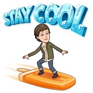 bitmoji of me surfing on a popsicle, keeping it cool
